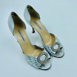 Manolo Blahnik Silver Rhinestone Heels 38.5 8.5